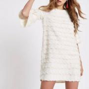 River Island Womens White jacquard geo print swing dress (Size 18)