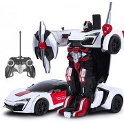 Halo Nation Remote Control Transformer Car Deform Robot 2.4G Music Lykan Racing Car - One Touch Robot Autobot Deformation (Red)