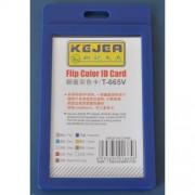 Suport PP tip flip, pentru carduri, 55 x 85mm, vertical, 5 buc/set, KEJEA - bleumarin