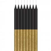 Kaarsjes zwart met glitter goud 16 stuks