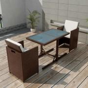 vidaXL Set mobilier de exterior 7 piese, poliratan, maro