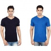 Dudlind Men's T-Shirt V-Neck Half Sleeves Men's Tshirts Packf of 2 T-Shirts Navy Blue Royal Blue