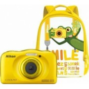 Aparat Foto Compact Nikon Coolpix Wateroproof W100 + Backpack Kit Galben