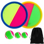 Elcoho Paddle and Catch Bat Ball Game Set Toss and Catch Sport Game with Storage Bag, 2 Paddles and 3 Balls (1 Big Ball and 2 Small Balls) addles and 3 Balls (1 Big Ball and 2 Small Balls)
