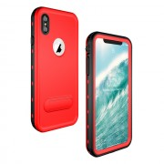 REDPEPPER Dot+ Series Dustproof Snowproof IP68 Waterproof Shell with Kickstand for iPhone XS Max 6.5 inch - Red