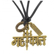 Men Style Religious Jewelry Rock Shiv Mahadev Trishul Gold Black Bronze Leather Necklace Pendant