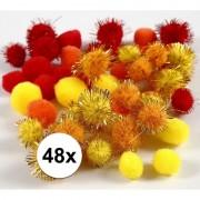 Geen 48x knutsel pompons 15-20 mm kleuren