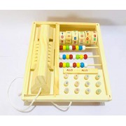 SN Toy Zone High Quality Wooden Kids Drag Telephone Set with Number,Beads and Calculation Toy(1 Free Fancy Gel Pen)
