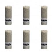 Bolsius Rustic Pillar Candle 190 x 68 mm Slate 6 pcs