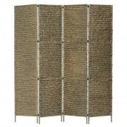 vidaXL Параван за стая, 4 панела, кафяв, 154x160 cм, воден хиацинт