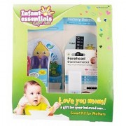 Infant Essential Gift Set consiste of Forehead Thermeomter Bath Thermometer Nursery Thermomere one each and Safety fee