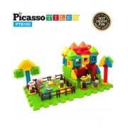 Set PicassoTiles Basic Bristle Shape Blocks Farm 100 De Forme De Constructie ce se intrepatrund