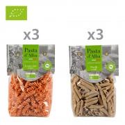 Pasta d'Alba Senza Glutine 6 confezioni miste: 3 Fusilli di Lenticchie BIO Senza Glutine - 3 Penne di Piselli BIO Senza Glutine