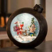 LED globe Santa Claus with children, with water
