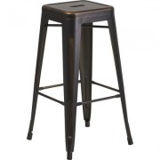 Flash Furniture Backless Distressed Metal Bar Stool - 30Inch H, Copper, Model ETBT350330COP