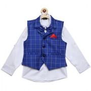 AJ Dezines Kids Party Wear Blue Color Shirt Waistcoat Set For Boys