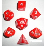 Red/White Opaque (Set Of 7 Dice)