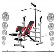 Комплект мултифункционална лежанка, тежести и лост inSPORTline Bastet + Weight Plates + Barbell