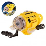 ALLCACA Infrared Control Submarine Compact RC Submarine Boat Remote Controlled Submarine Toy with 0.3MP Camera, LED Lights and Unique Feeding Device, Perfect for Kids, Yellow