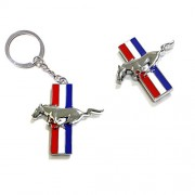 iJDMTOY Chrome Finish Pony Horse Car Key Ring Keychain