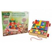 Carucior Cuburi Lemn Globo Legnoland Pentru Copii Multicolore 35 Piese