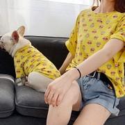 ZHAS Ropa para Perros Mascotas Camiseta de Verano para Perros Ropa para Perros Bulldog Bear Print Ropa para Mascotas combinada Ropa para Cachorros Traje York