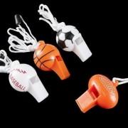 24 Sport Ball Whistle Necklaces - 24 Per Unit Sports Favors / Sports Toys Bulk