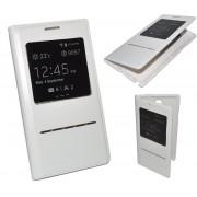 Housse Etui Coque Etui À Rabat View Cache Batterie Blanc Pour Samsung Galaxy S4 Mini