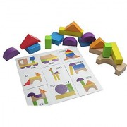 Wooden Block Patterns - Create Animals and Vehicles with Colorful Organic Building Blocks - Montessori learning toy Busy Bag Learning Activity