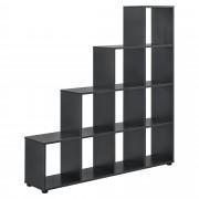 Дизайнерски стъпаловиден шкаф/етажерка [en.casa]®, 138 x 142 x 29cm, Сив