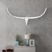 vidaXL Декоративна алуминиева глава на бик за стена, сребриста, 125 см