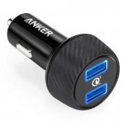 Anker PowerDrive Speed 2 Ports Quick Charge 3.0 39W Dual USB Car Charger с PowerIQ и VoltageBoost - зарядно за кола с два USB изхода и технология за бързо зареждане (черен)