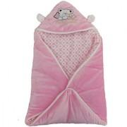 Furn@Home Teddy Family Shearing Velvet Pink Baby Blanket With Hood And Ears