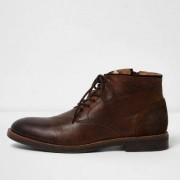River Island Mens Dark Brown leather chukka boots - Size 44 (EU)