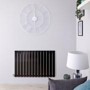 Hudson Reed Radiateur design électrique horizontal - Noir - 63,5 cm x 98 cm x 4,6 cm - Delta