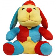 Ultra Cuddly Droopy Dog Plush Stuffed Toy 13 Inches - Red and Blue