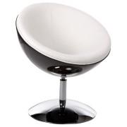 Fauteuil design boule 'SPHERA' pivotant 360° noir et blanc