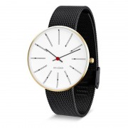 Arne Jacobsen Clocks Armbandsur Bankers Vit/guld/matt svart 40 mm Arne Jacobsen Clocks