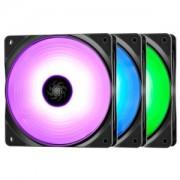 "Ventilator DEEPCOOL 120x120x25 mm, RGB LED, PWM, Hydro Bearing, control dual iluminare, 3 buc. in pachet ""RF120x3"""