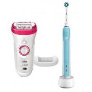 Epilator Braun Silk-epil 9-521 SensoSmart + Periuta de dinti electrica Oral-B PRO 500 Cross Action