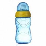 Cana anticurgere Minut Baby 6+ cu cioc silicon 300 ml bleu cu galben