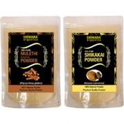 Donnara Organics 100% Natural Mulethi(Licorice) Powder and Shikakai powder Combo pack of 2 of 150 gms(300 gms)