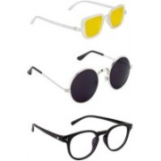 SO SHADES OF STYLE Round, Rectangular, Retro Square Sunglasses(Yellow, Black, Clear)