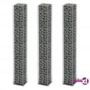 vidaXL Set gabiona 3 kom od pocinčane žice 25 x 25 x 197 cm