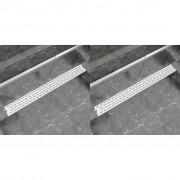 vidaXL 2 db lineáris rozsdamentes acél vonal zuhany lefolyó 1030x140mm