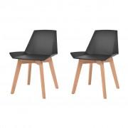 vidaXL Jídelní židle 2 ks černé plastové sedáky, bukové nohy