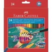 Creioane colorate acuarela si pensula 24 buc/set FABER-CASTELL