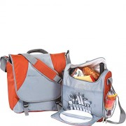 Picnic Plus 2 Person Messenger Bag Complete Picnic Set Includes Separate Insulated Cooler Ba