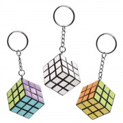 Baker Ross Puzzle Cube Keyrings - 4 Colour In Keyrings. Different Keyrings. DIY Keyrings. Size 3cm x 3cm.