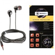 BrainBell Combo Of UBON Earphone SM-50 SOUND MASTER SERIES BIG DADDY BASS And MICROMAX Q327 Tempered Screen Guard